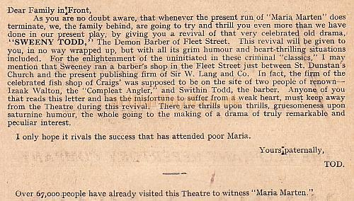 Extracts from a Programme for 'Maria Marten' at the Elephant & Castle Theatre in November 1927.
