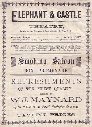 Programme for 'Wrecked in London' at the Elephant & Castle Theatre - August 1st 1887.
