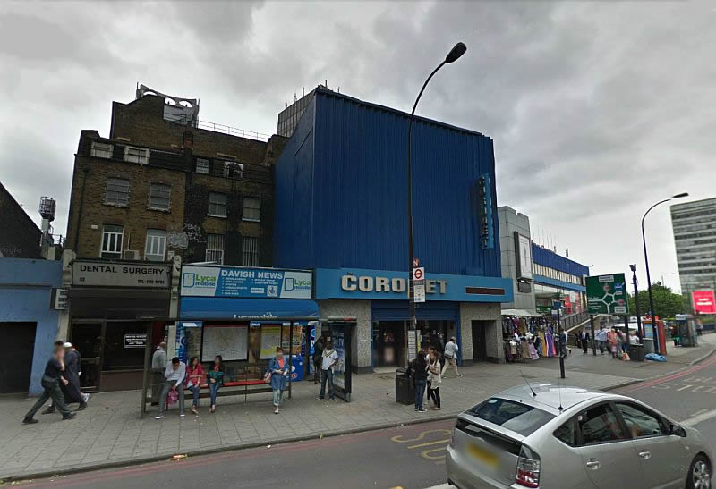 A Google Streetview Image of the Coronet Theatre, New Kent Road today, formerly the Elephant and Castle Theatre - Click to Interact.