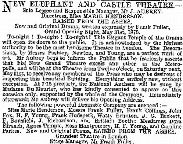 An advertisement carried in the ERA, 1st June 1879, on the opening of the Elephant and Castle Theatre.