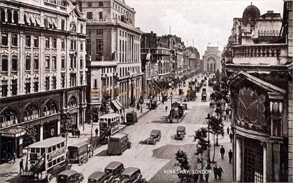 Postcard showing Kingsway from High Holborn. The Embassy Theatre was to the right of the Holborn Restaurant and out of view in this picture. -  Courtesy Dave Gregory of 'Postcards of the Past.'