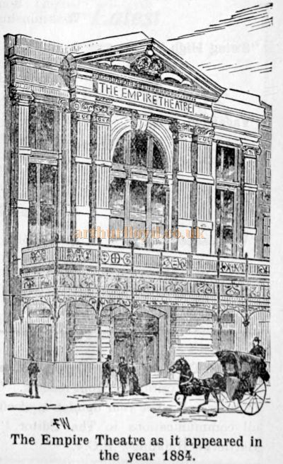 The Empire Theatre as it appeared in 1884 - From The Weekly Kinema Guide, 12th of January 1930.