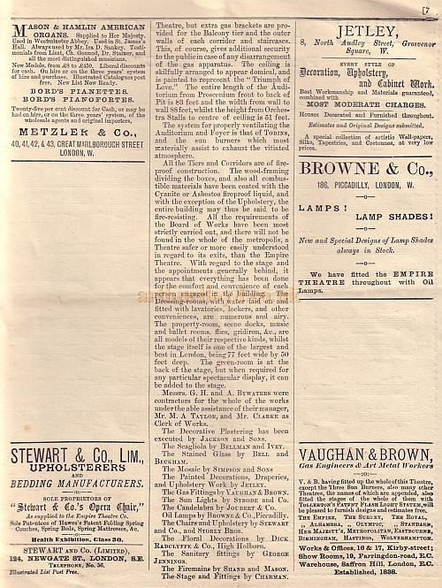 The Empire Theatre's Opening Programme, Thursday, April 17, 1884
