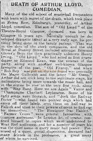 Obituary printed in the Evening Dispatch Thursday July 21st 1904 - Courtesy Peter Charlton.