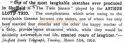A Review for the Arthur Lloyd Trio performing 'The Twin Sisters' in Sheffield in 1906 - From the Sheffield Daily Telegraph, Tuesday, March 13th, 1906.
