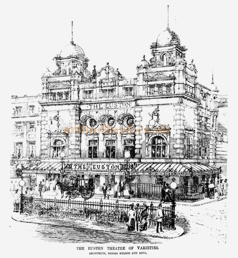 A sketch of the Euston Theatre of Varieties - From the ERA, 16th of June 1900 - To see more of these Sketches click here.