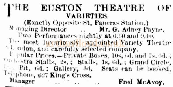 An Advertisement from The Entracte of February the 9th, 1901 showing the prices at the Euston Theatre of Varieties.