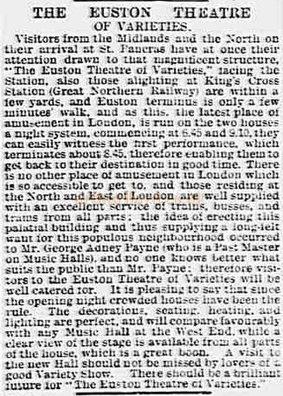 A Report from the Essex County Chronicle of January 11th 1901 on the Euston Theatre of Varieties excellent Transport Links.