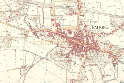 A Thumbnail image of an excellent National Library for Scotland map which shows an 1860 plan of Falkirk, which is zoomable, and shows clearly the Corn Exchange, the Rankine Hall, and the Wilson Hall - Click to view the map.