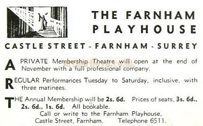 1939 advertisement for the Farnham Playhouse - Courtesy Alan Chudley.