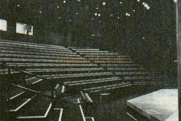 "The Redgrave Theatre Auditorium and Stage - From the now defunct Strand Electric publication ""Tabs."" The stage setting is of the opening Redgrave Theatre production of ""Romeo & Juliet"" in May 1974 - Courtesy Alan Chudley."