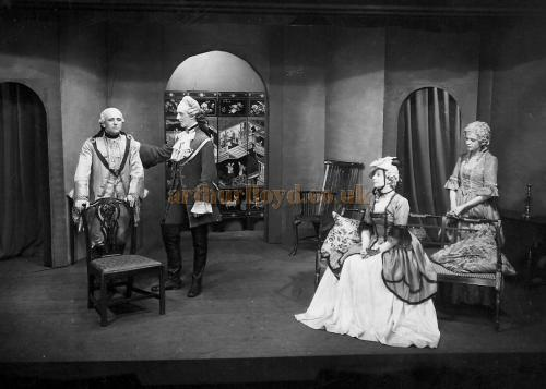 A Photograph of a scene from 'She Stoops to Conquer' at the Farnham Playhouse - Courtesy Dai Lesty.