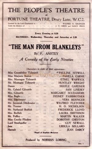 Cast Details form a Programme for the People's Theatre production of 'The Man From Blankleys'.