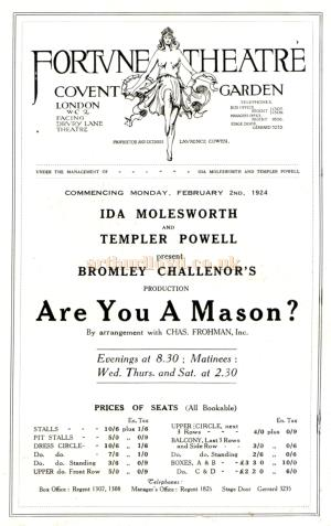 Cast Details from the programme for 'Are You A Mason' at the Fortune Theatre in February 1925 - Note the date on this page of the programme is incorrectly stated as 1924.