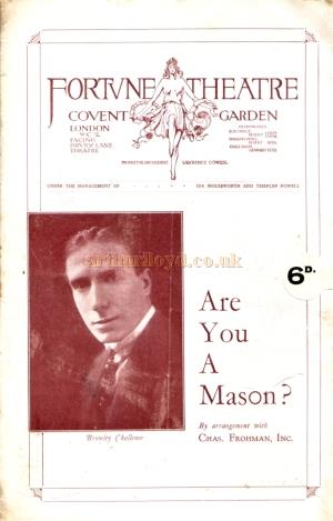 The programme for 'Are You A Mason' at the Fortune Theatre in February 1925 which this article comes from.