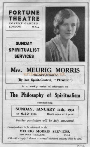 An advertisement for Mrs. Meurig Morris, Trance Medium, in a weekly series of addresses on 'The Philosophy of Spiritualism' at the Fortune Theatre commencing January 1931 - From a programme for 'The Man From Blankleys' at the Fortune Theatre in October 1930.