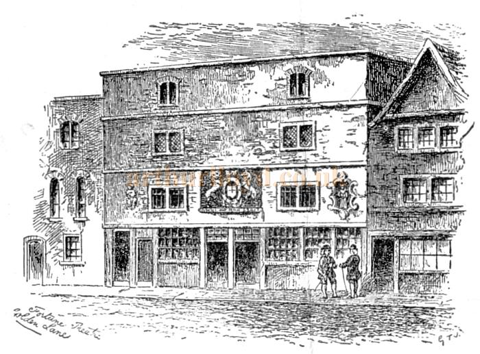 A Sketch of the original Fortune Theatre in Golden Lane, Cripplegate - From a programme for 'Are You A Mason' at the Theatre in February 1925