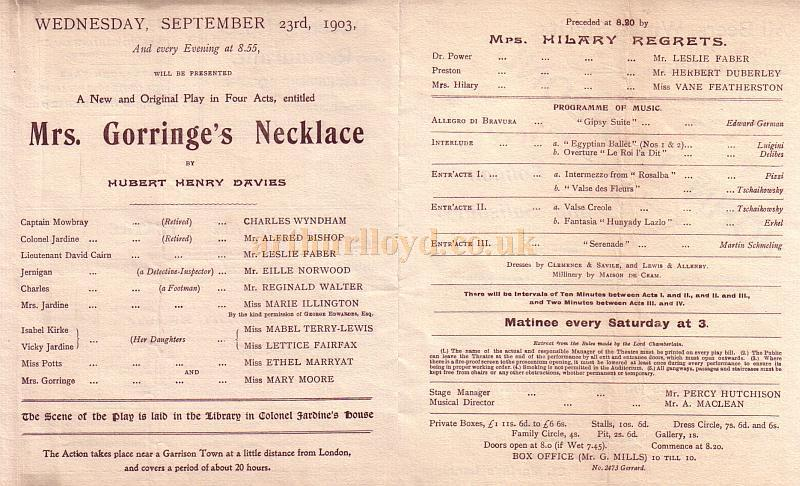 The Cast List from a Programme for 'Mrs. Gorringe's Necklace' and ' Miss Hilary Regrets' at the Fulham Theatre, 23rd September 1903, including Charles Wyndham, Alfred Bishop, Leslie Faber, Eille Norwood, and Reginald Walter.