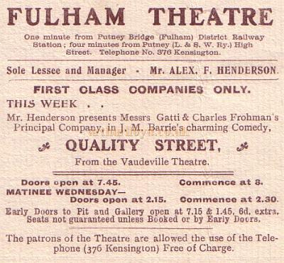 An extract from a Programme for 'Mrs. Gorringe's Necklace' at the Fulham Theatre, 23rd September 1903, also advertising the forthcoming production of J. M. Barrie's 'Quality Street' from the Vaudeville Theatre.