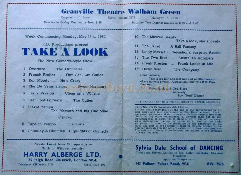 A Variety Programme for 'Take A look' at the Granville Theatre in May 1952 - Courtesy Roy Cross.