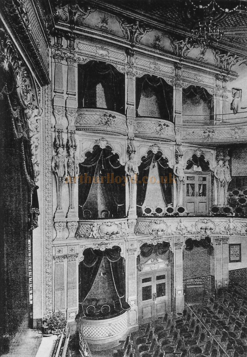 The auditorium of the Fulham Grand shortly after its opening in 1897 - Courtesy David Garratt. The auditorium is similar to Sheffield's Lyceum Theatre, also designed by W. G. R. Sprague in 1897.
