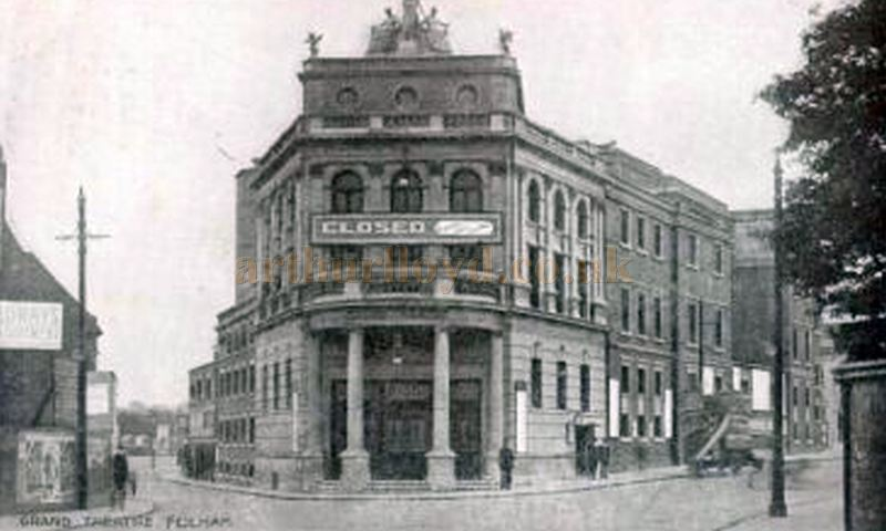 A Postcard showing W. G. R. Sprague's Grand Theatre, Fulham with a closed notice on its facade.