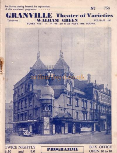A variety programme for the Granville Theatre, Walham Green for March 21st 1938