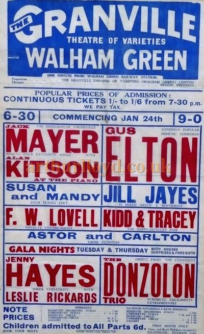 A Variety Poster for the Granville Theatre, Walham Green - Courtesy Elton Maryon