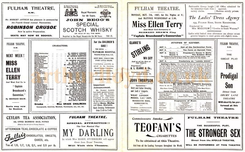 The centre page of a Robert Arthur Illustrated Journal Programme for the Drury Lane production of 'The Bondman' by Hall Caine at the Fulham Theatre for the week beginning September 30th 1907.