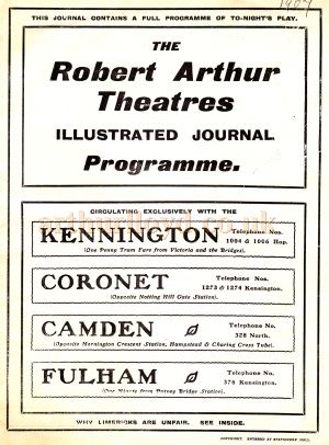 The cover of a Robert Arthur Illustrated Journal Programme for the Drury Lane production of 'The Bondman' at the Fulham Theatre for the week beginning September 30th 1907.