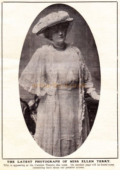 A photograph of Ellen Terry who was performing in 'Captain Brassbound's Conversion' at the Fulham Theatre in October 1907.