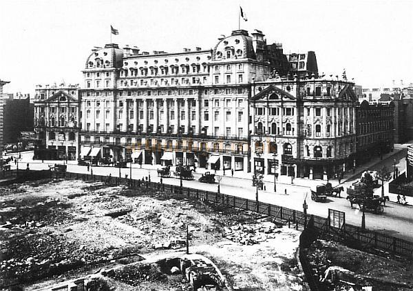 The Waldorf Hotel with the Waldorf (now Strand) Theatre (left) and the Aldwych Theatre (right) c.1906.