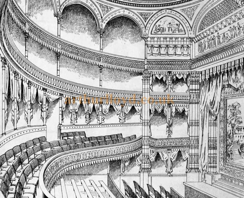A Sketch of the auditorium of the first Gaiety Theatre - From the Building News and Engineering Journal, 1869.