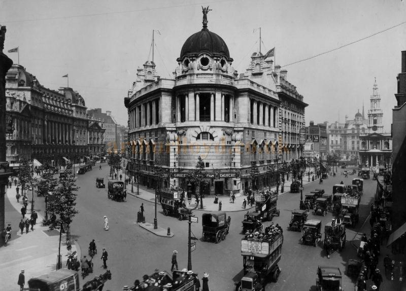 A photograph of the Gaiety Theatre, Aldwych, London circa 1909 - 1911.