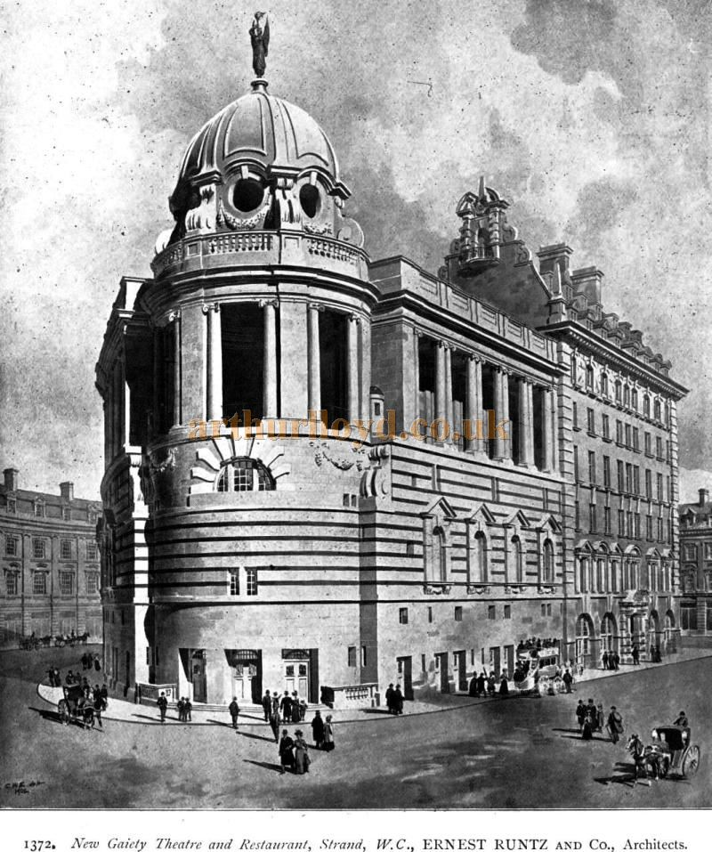 An Image by W. C. Ernest Runtz and Co Architects showing the New Gaiety Theatre and Restaurant - From the Academy Architecture and Architectural Review of 1902.