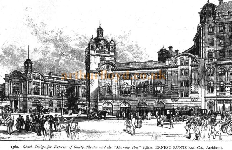 An early design for the new Gaiety Theatre and Morning Post Building by W. C. Ernest Runtz and Co Architects - From the Academy Architecture and Architectural Review of 1901.