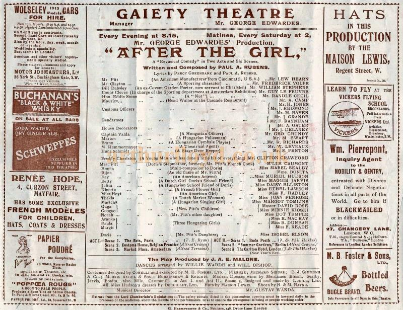Cast Details from a Programme for 'After the Girl' which was produced at the second Gaiety Theatre in 1914 and ran for 105 performances - Courtesy Lynn Stratton.