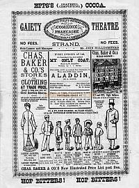 A programme for 'Aladdin' at the first Gaiety Theatre in 1882 - Click to see the entire programme.