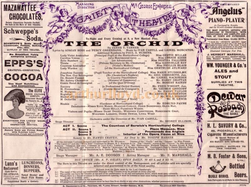 Cast Details from a Programme for the opening production of 'The Orchid' at the new Gaiety Theatre in 1903