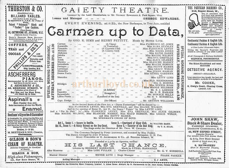 Details from a programme for 'Carmen Up To Data' at the first Gaiety Theatre in 1890