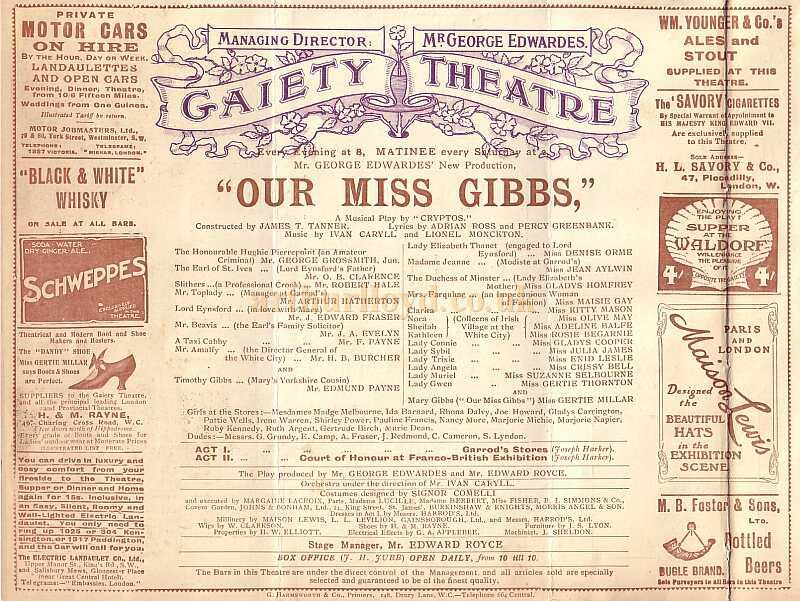Detail from a programme for 'Our Miss Gibbs' at the second Gaiety Theatre in 1909