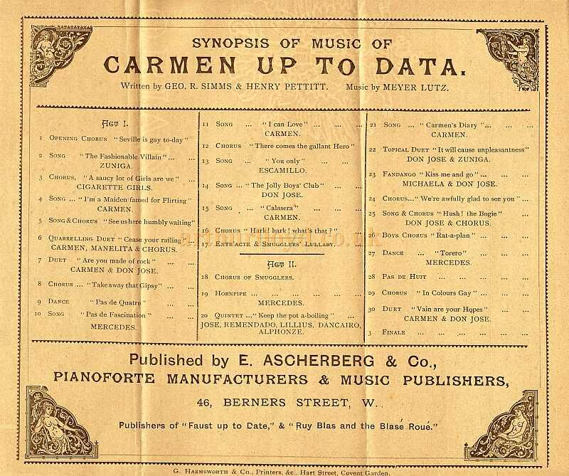 The Synopsis of Music for 'Carmen Up To Data' at the first Gaiety Theatre in 1890
