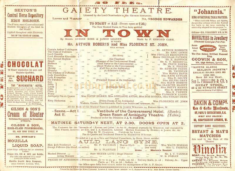Detail from a programme for 'In Town' at the first Gaiety Theatre in 1893