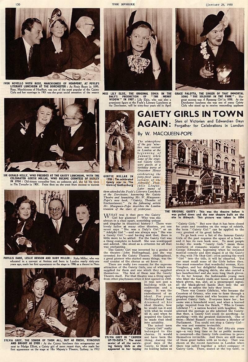 Page 1 of the article printed in 'The Sphere,' January 1950, about a reunion of the infamous 'Gaiety Girls'