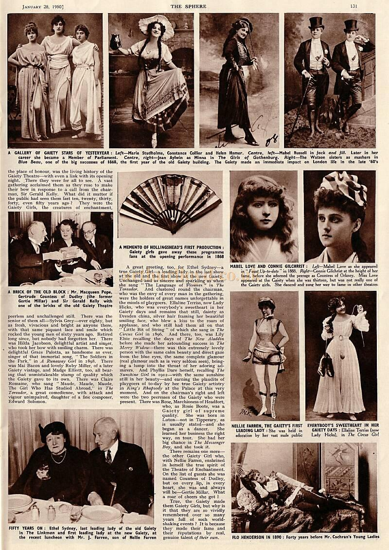 Page 2 of the article printed in 'The Sphere,' January 1950, about a reunion of the infamous 'Gaiety Girls'