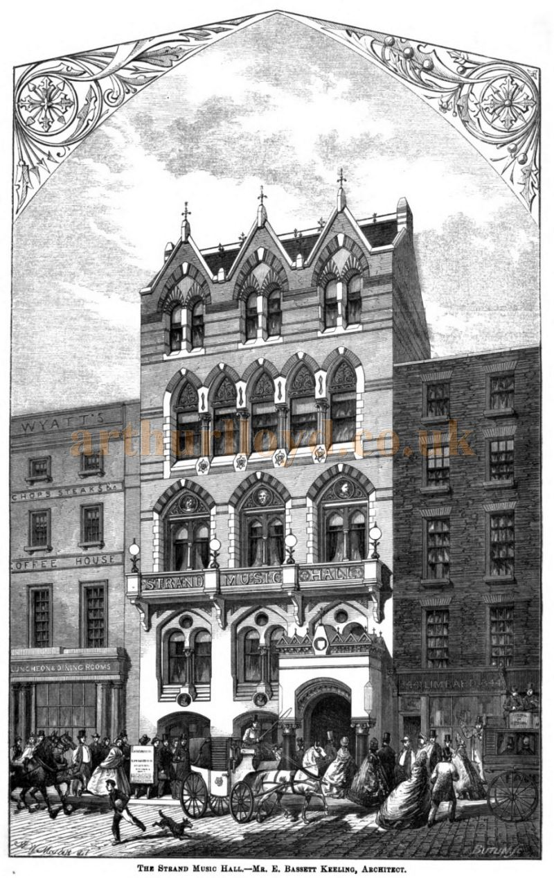 The Strand Music Hall - Mr. E. Bassett Keeling, Architect - From the Building News and Engineering Journal, November the 20th 1863.