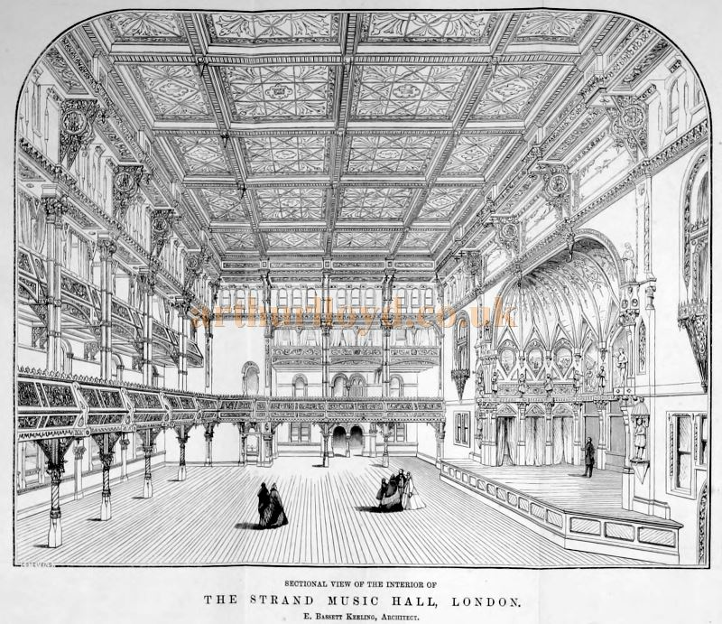 The Strand Musick Hall interior in 1864. From 'The Lost Theatres Of London' Raymond Mander and Joe Mitchenson 1975