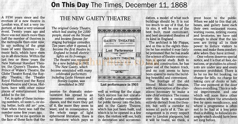 An article originally printed in the The Times newspaper of 1868 and then reprinted in their 11th of December 2002 edition, with and image of the last performance programme from this website - Article reproduced courtesy The Times newspaper.