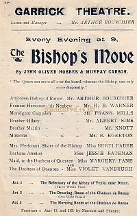 Programme detail for ' The Bishop's Move' at The Garrick Theatre 1902.