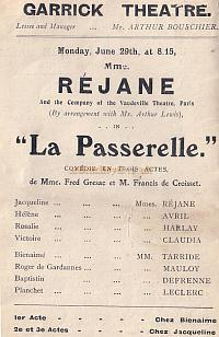 Programme detail for ' Rejane' at The Garrick Theatre early 1900s.